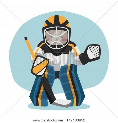 The goalkeeper is on the gate. Vector illustration of a man in a mask and protection.