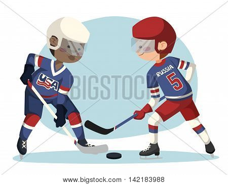 Beating players vector concept. Two hockey players on the ice.
