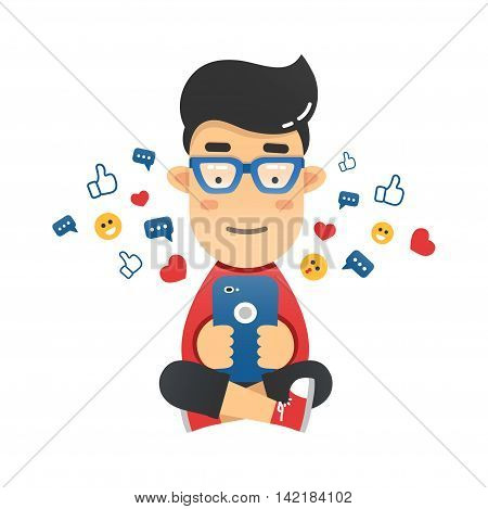 Young man sitting and sending a message via chat to someone using his smartphone. Vector flat illustration of the mobile chat with friends