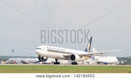 The Moscow region - 31 July 2016: A passenger plane Boeing 777-312ER Singapore Airlines taking off at the airport in Moscow's Domodedovo 31 July 2016 Moscow region Russia