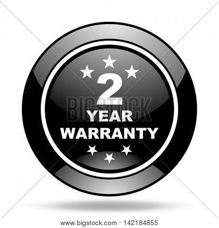 warranty guarantee 2 year black glossy icon