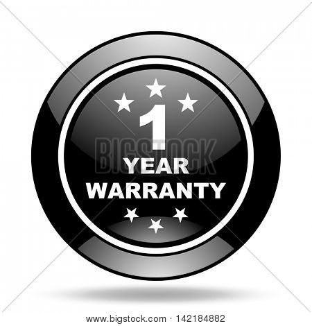 warranty guarantee 1 year black glossy icon