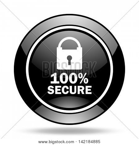 secure black glossy icon