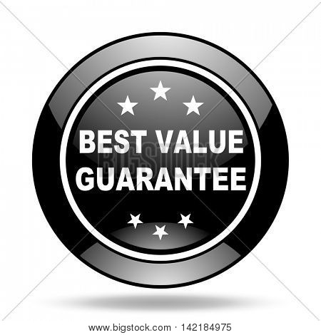 best value guarantee black glossy icon