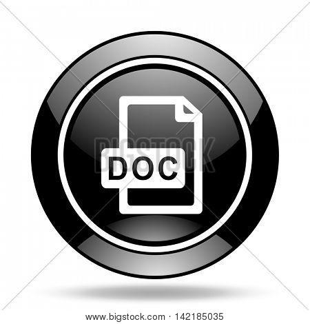 doc file black glossy icon