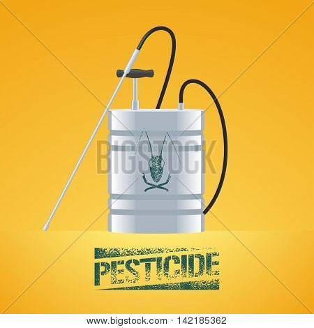 Pest insects control sprinkling equipment vector illustration for farming gardening agriculture. Design element of pesticide sign as stamp