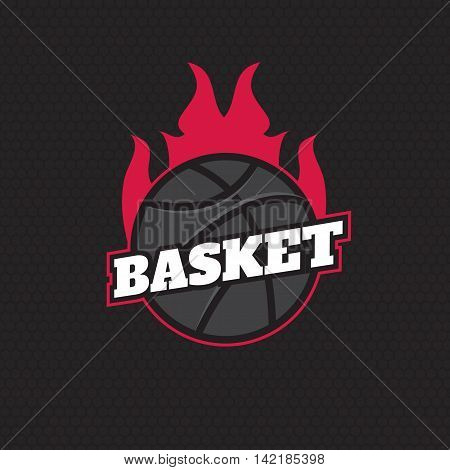 Basketball tournament emblem template. Basketball ball. Burning ball vector