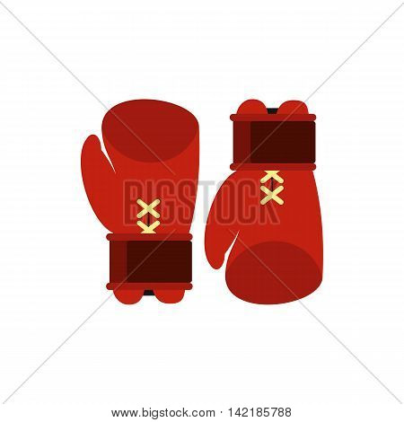 Boxing gloves icon in flat style on a white background