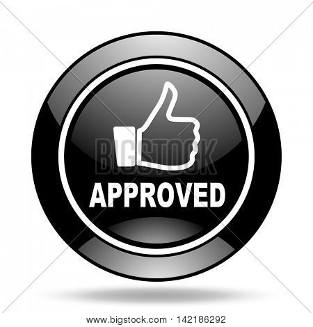 approved black glossy icon