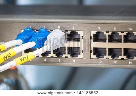 Network switch and ethernet cablesData Center connection.