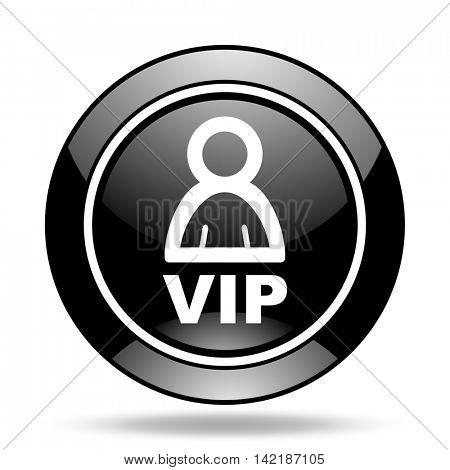 vip black glossy icon