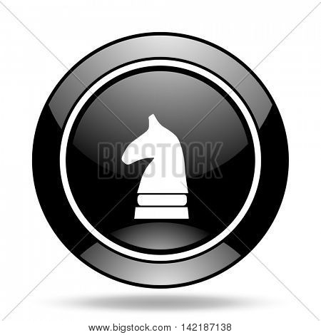 chess horse black glossy icon
