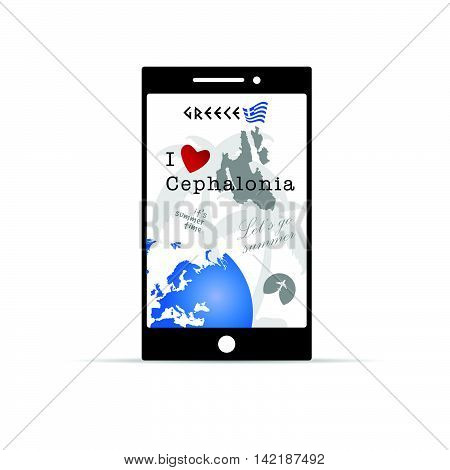 Greek Island Cephalonia On Mobile Phone Illustration In Colorful