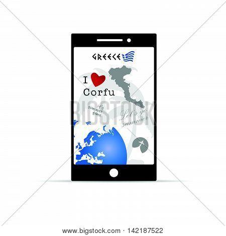 Greek Island Corfu On Mobile Phone Illustration In Colorful