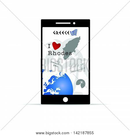 Greek Island Rhodes On Mobile Phone Illustration In Colorful