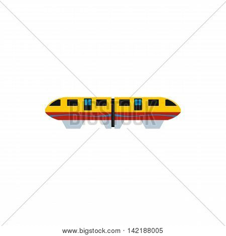 Yellow monorail train icon in flat style on a white background