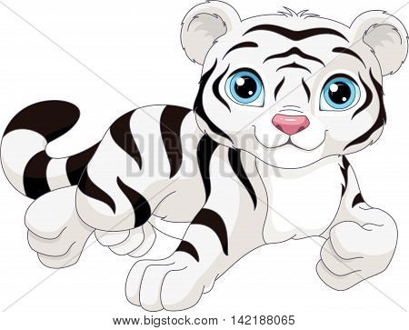 White tiger on a white background, EPS 8