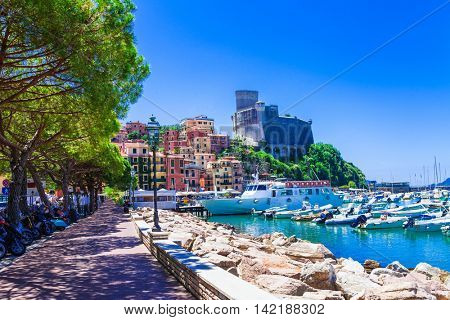 Travel in Italy series - colorful Lerici in Liguria, view with castle
