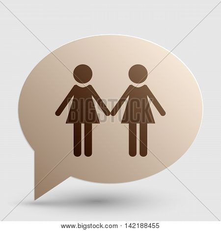 Lesbian family sign. Brown gradient icon on bubble with shadow.