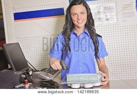 A clerk portrait in home appliance shop supermarket store