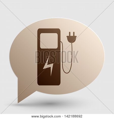 Electric car charging station sign. Brown gradient icon on bubble with shadow.