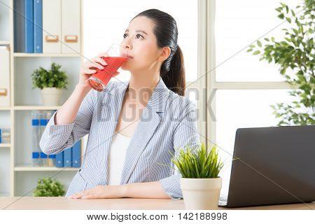 Asian Business Woman Drinking Summer Fruit Watermelon Juice