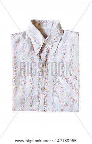 White cotton blouse folded on white background