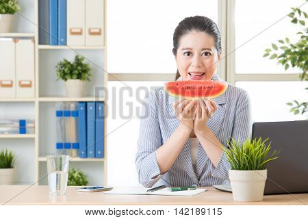 Business Woman In Professional Suit Eating Summer Watermelon