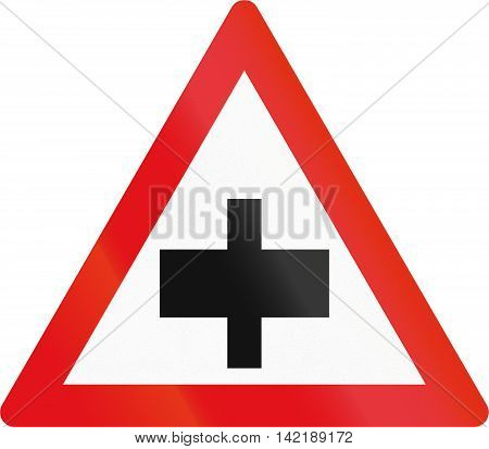Road Sign Used In The African Country Of Botswana - Crossroad Without Priority