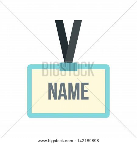 Plastic Name badge with neck strap icon in flat style on a white background