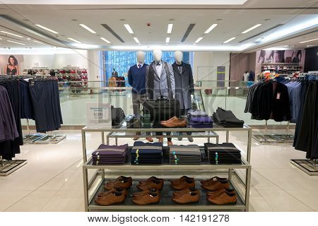 HONG KONG - CIRCA JANUARY, 2016: inside of a Marks and Spencer store in Hong Kong. Marks and Spencer plc is a major British multinational retailer headquartered in the City of Westminster, London.