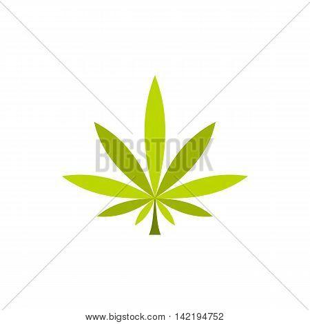 Marijuana leaf icon in flat style on a white background