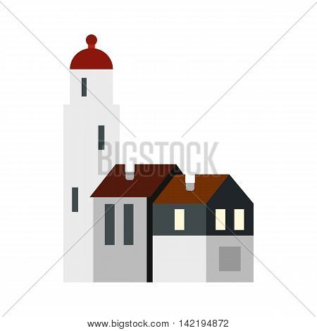 White church, Netherlands icon in flat style on a white background