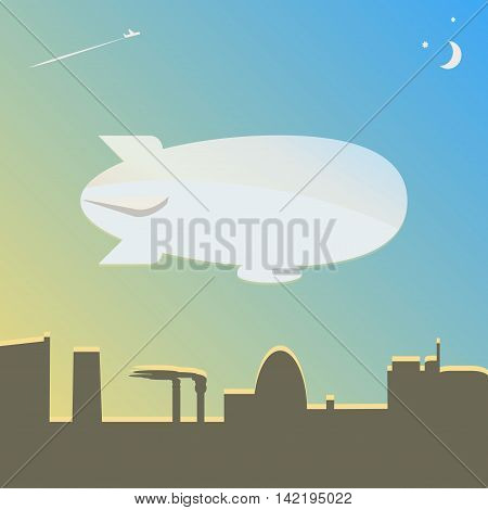 The airship flies over the city. Vector illustration.