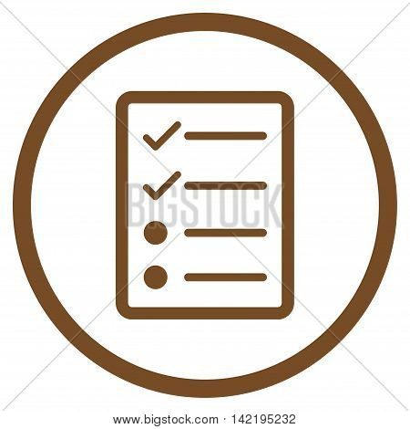 Checklist Page vector icon. Style is flat rounded iconic symbol, checklist page icon is drawn with brown color on a white background.