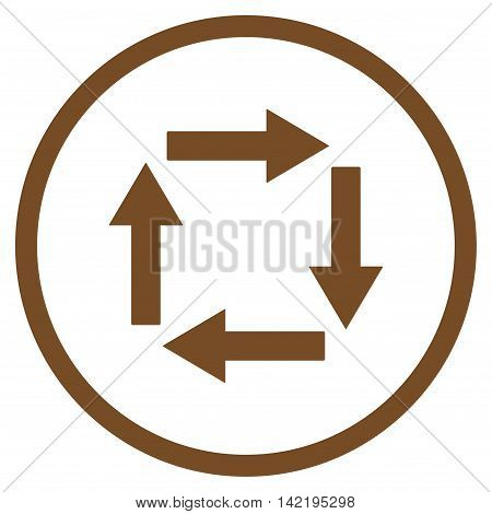 Circulation Arrows vector icon. Style is flat rounded iconic symbol, circulation arrows icon is drawn with brown color on a white background.