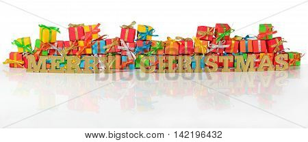 Merry Christmas Golden Text And Varicolored Gifts