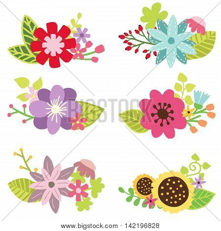 Vector floral set of colored flower design elements. Spring or summer flowers hand drawn illustrations.
