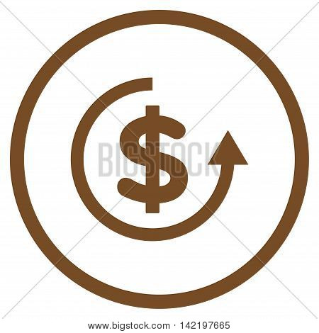Refund vector icon. Style is flat rounded iconic symbol, refund icon is drawn with brown color on a white background.
