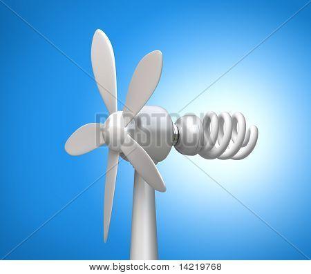 Aerogenerador y modernos de la lámpara