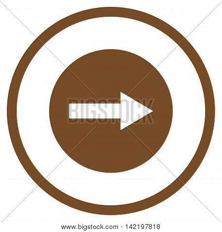 Right Rounded Arrow vector icon. Style is flat rounded iconic symbol, right rounded arrow icon is drawn with brown color on a white background.