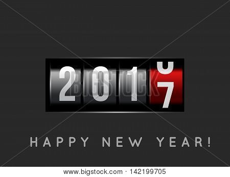 New Year counter 2016 with power button. Vector illustration
