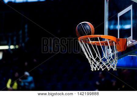 Basketball Ball Going Through The Net