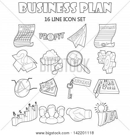 Outline business plan icons set. Universal business plan icons to use for web and mobile UI, set of basic business plan elements isolated vector illustration