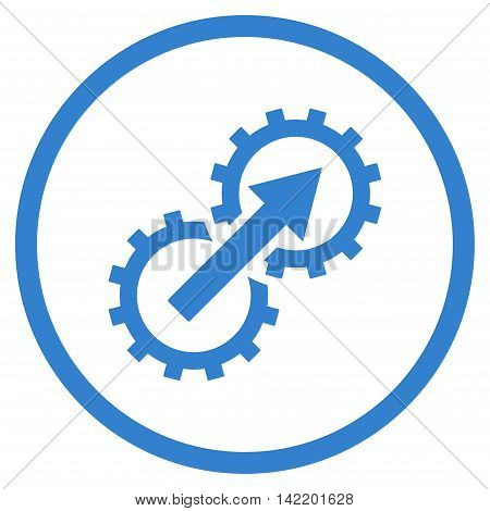 Gear Integration vector icon. Style is flat rounded iconic symbol, gear integration icon is drawn with cobalt color on a white background.