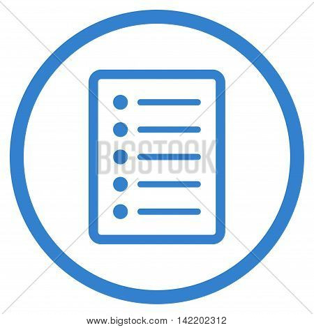 List Page vector icon. Style is flat rounded iconic symbol, list page icon is drawn with cobalt color on a white background.