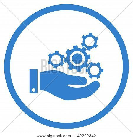 Mechanics Service vector icon. Style is flat rounded iconic symbol, mechanics service icon is drawn with cobalt color on a white background.