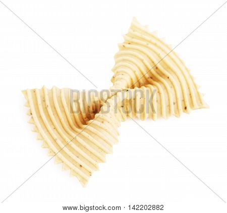 raw bow-knot pasta, isolated on white background
