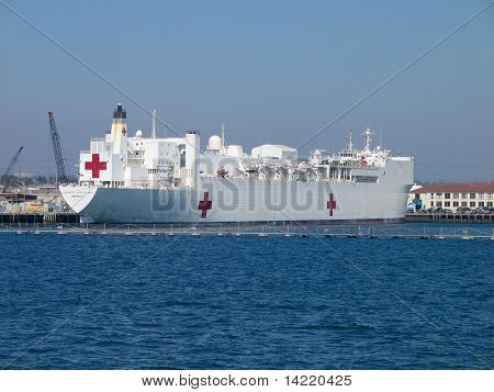 San Diego, California - March 16, 2007: Naval Hospital Ship Mercy At San Diego Bay. Mercy Is Convert