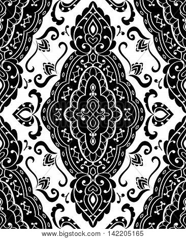 Oriental abstract ornament. Templates for carpets textiles and any surface. Seamless vector black pattern on a white background.